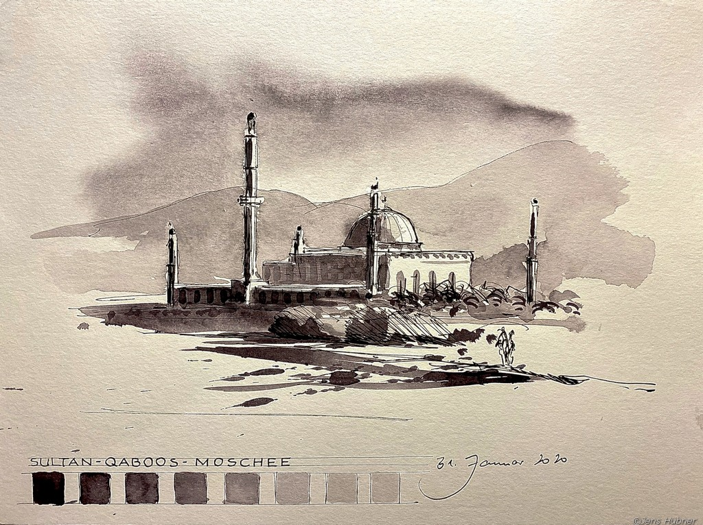 Große Moschee Muscat, Malreise Oman 2020