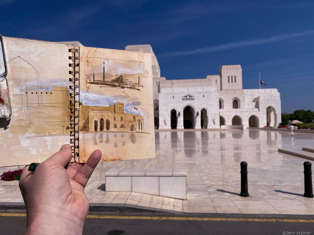 Royal Opra House Aquarell, Malreise Oman 2020