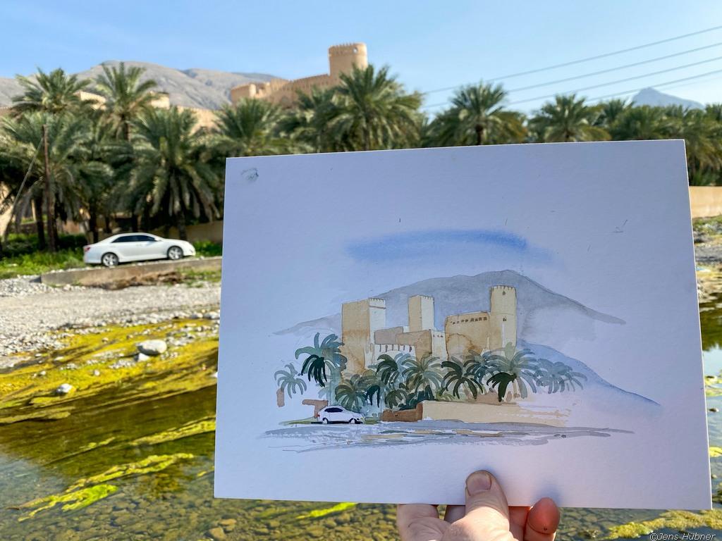 Nakhl Festung Aquarell, Malreise Oman 2020