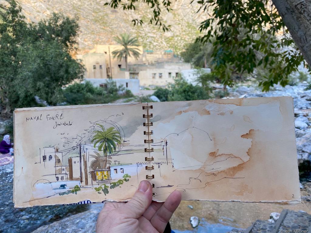Aquarelle und Reiseskizzen Oman 2020