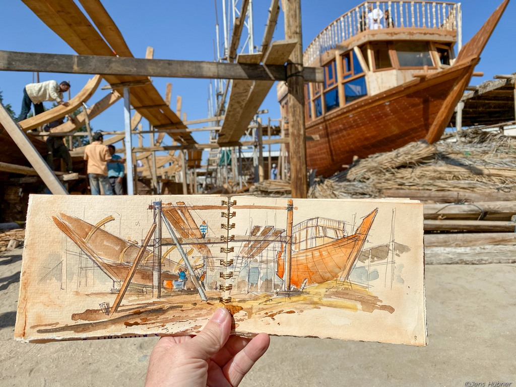 Reiseskizzen Rundreise Aquarellmalerei im Oman
